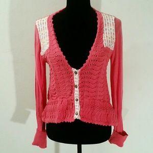 Medium FP Pink Floral Crochet Button Down Cardigan